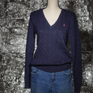 Ralph Lauren Navy Cotton V-Neck Sweater